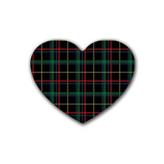 Plaid Tartan Checks Pattern Heart Coaster (4 Pack)