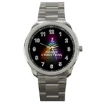 Merry Christmas Abstract Sport Metal Watch Front