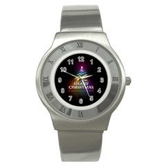 Merry Christmas Abstract Stainless Steel Watch by Nexatart
