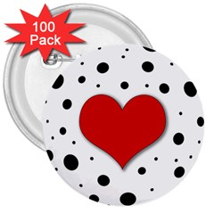 Red Heart 3  Buttons (100 Pack)  by Valentinaart