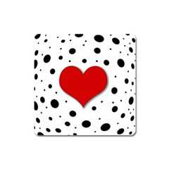 Red Heart Square Magnet by Valentinaart