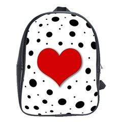 Red Heart School Bags(large)  by Valentinaart