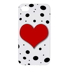 Red Heart Apple Iphone 4/4s Premium Hardshell Case by Valentinaart
