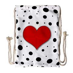 Red Heart Drawstring Bag (large) by Valentinaart