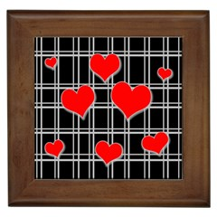 Red Hearts Pattern Framed Tiles