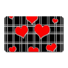 Red Hearts Pattern Magnet (rectangular) by Valentinaart