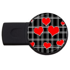 Red Hearts Pattern Usb Flash Drive Round (4 Gb) by Valentinaart