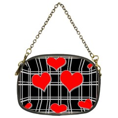Red Hearts Pattern Chain Purses (two Sides)  by Valentinaart