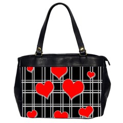 Red Hearts Pattern Office Handbags (2 Sides)  by Valentinaart