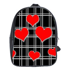 Red Hearts Pattern School Bags (xl)  by Valentinaart