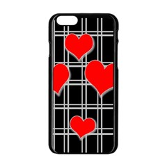 Red Hearts Pattern Apple Iphone 6/6s Black Enamel Case