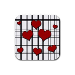 Hearts Pattern Rubber Square Coaster (4 Pack)
