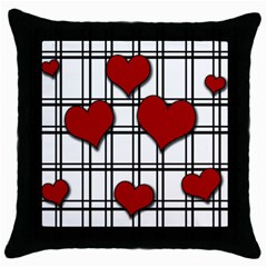 Hearts Pattern Throw Pillow Case (black) by Valentinaart