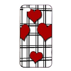 Hearts Pattern Apple Iphone 4/4s Seamless Case (black) by Valentinaart