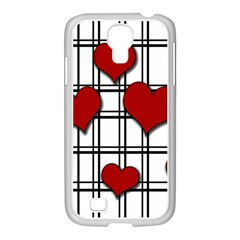 Hearts Pattern Samsung Galaxy S4 I9500/ I9505 Case (white) by Valentinaart