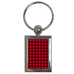 Red And Black Plaid Pattern Key Chains (rectangle)  by Valentinaart