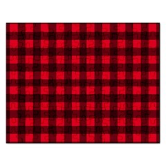Red And Black Plaid Pattern Rectangular Jigsaw Puzzl by Valentinaart