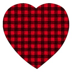 Red And Black Plaid Pattern Jigsaw Puzzle (heart) by Valentinaart