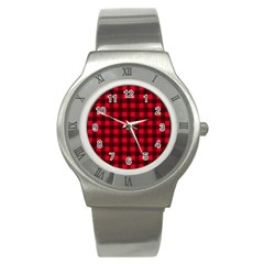 Red And Black Plaid Pattern Stainless Steel Watch by Valentinaart