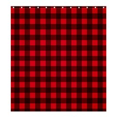 Red And Black Plaid Pattern Shower Curtain 66  X 72  (large)  by Valentinaart
