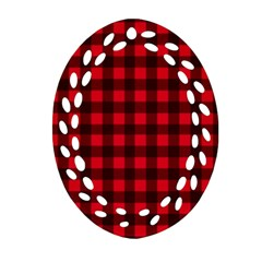 Red And Black Plaid Pattern Ornament (oval Filigree) by Valentinaart