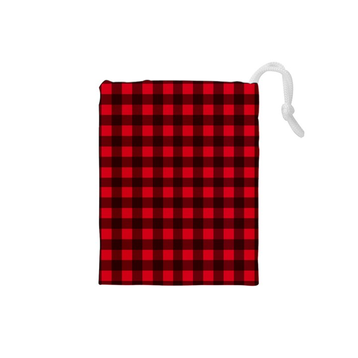 Red and black plaid pattern Drawstring Pouches (Small)