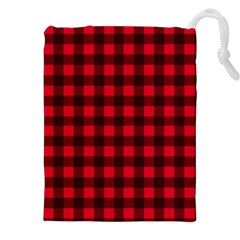 Red And Black Plaid Pattern Drawstring Pouches (xxl) by Valentinaart