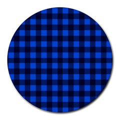 Blue And Black Plaid Pattern Round Mousepads by Valentinaart