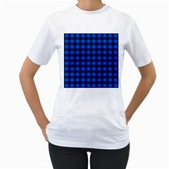 Blue And Black Plaid Pattern Women s T Shirt (white) (two Sided) by Valentinaart