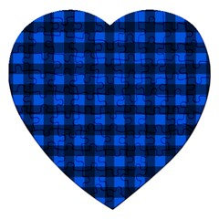 Blue And Black Plaid Pattern Jigsaw Puzzle (heart) by Valentinaart