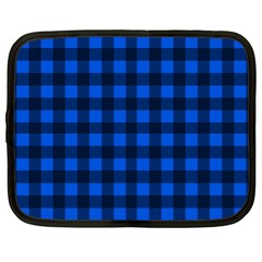 Blue And Black Plaid Pattern Netbook Case (xl)  by Valentinaart