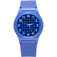 Blue And Black Plaid Pattern Round Plastic Sport Watch (s) by Valentinaart