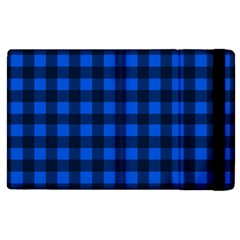Blue And Black Plaid Pattern Apple Ipad 2 Flip Case by Valentinaart