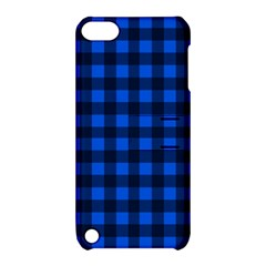 Blue And Black Plaid Pattern Apple Ipod Touch 5 Hardshell Case With Stand by Valentinaart