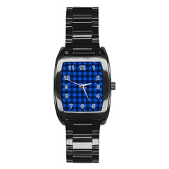 Blue And Black Plaid Pattern Stainless Steel Barrel Watch by Valentinaart