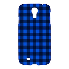 Blue And Black Plaid Pattern Samsung Galaxy S4 I9500/i9505 Hardshell Case by Valentinaart
