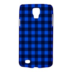 Blue And Black Plaid Pattern Galaxy S4 Active by Valentinaart