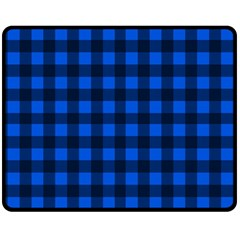 Blue And Black Plaid Pattern Double Sided Fleece Blanket (medium)