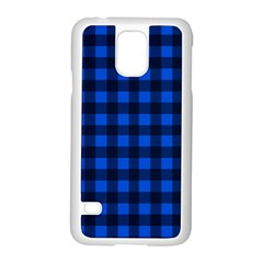 Blue And Black Plaid Pattern Samsung Galaxy S5 Case (white) by Valentinaart