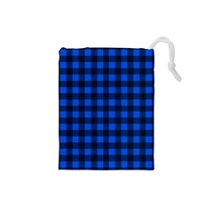 Blue And Black Plaid Pattern Drawstring Pouches (small)  by Valentinaart