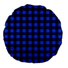 Blue And Black Plaid Pattern Large 18  Premium Flano Round Cushions by Valentinaart