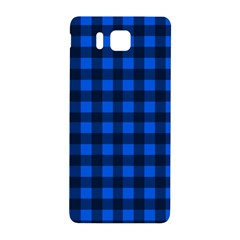 Blue And Black Plaid Pattern Samsung Galaxy Alpha Hardshell Back Case by Valentinaart