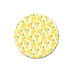 Pattern Template Lemons Yellow Magnet 3  (round) by Nexatart