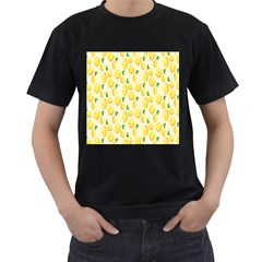 Pattern Template Lemons Yellow Men s T Shirt (black) (two Sided)