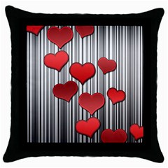 Valentines Day Pattern Throw Pillow Case (black) by Valentinaart