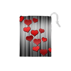 Valentines Day Pattern Drawstring Pouches (small)  by Valentinaart
