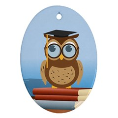 Read Owl Book Owl Glasses Read Ornament (oval) by Nexatart