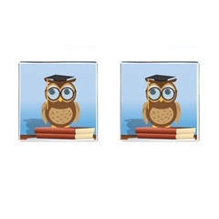 Read Owl Book Owl Glasses Read Cufflinks (square) by Nexatart