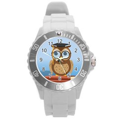 Read Owl Book Owl Glasses Read Round Plastic Sport Watch (l) by Nexatart