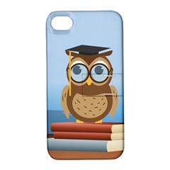 Read Owl Book Owl Glasses Read Apple Iphone 4/4s Hardshell Case With Stand by Nexatart
